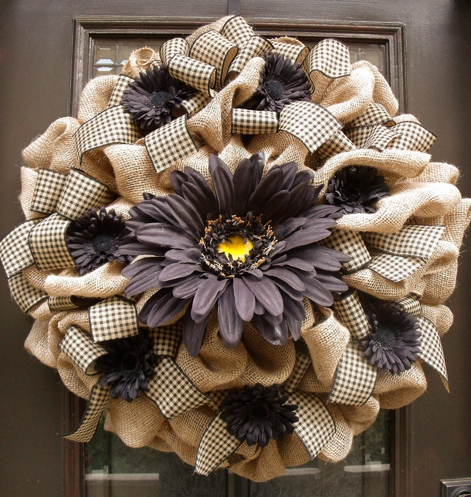 Xxl Burlap Door Wreath Fall Wreaths Burlap Daisy Wreath