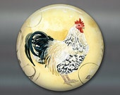 rooster fridge magnet, hand painted magnet, tuscan decor art magnet, yellow country kitchen decor, decorative magnet, large magnet, MA-707