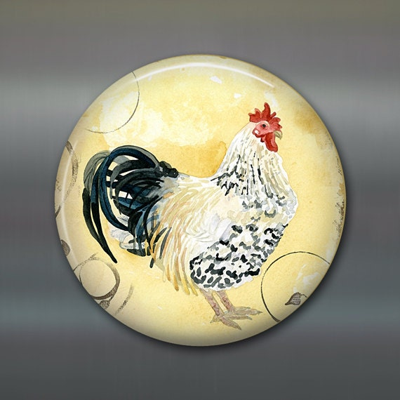rooster fridge magnet hand painted magnet tuscan by WallCakes