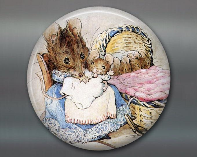 "3.5"" peter rabbit magnet, beatrix potter fridge magnet, cute bunny decor, large children's magnet, stocking stuffer for kids  MA-151"