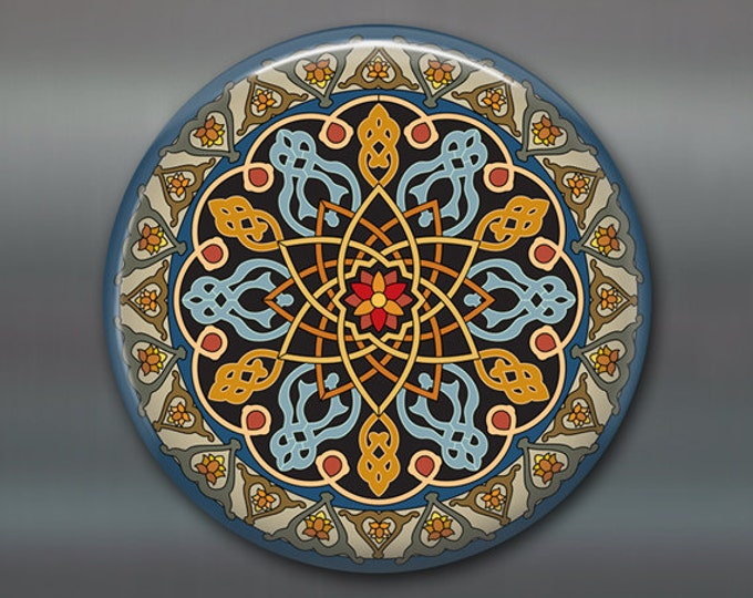 "3.5"" pattern fridge magnet, colourful mandala art magnet, turquoise and orange decor, spiritual decor, large magnet,  MA-MAND-12"