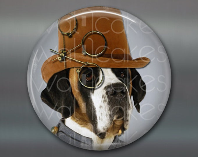 "3.5"" steampunk magnet, hound  dog decor, kitchen decor, housewarming gift large fridge magnet, steampunk decor, stocking stuffer MA-1007"