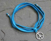 Turquoise  Flat Lace Leather Anklet, Wrap Bracelet Or Necklace Silver Peace Sign