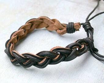 Brown Leather Mens Bracelet Surfer Style Adjustable
