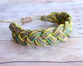 Surfer Sailor Style Hemp Bracelet Mixed Colors Natural Green Yellow