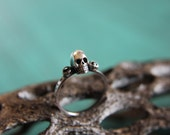 Dainty Skull Stacking Ring with Gemstones. Sterling silver gothic gemstone stacking ring. Small macabre skull ring.