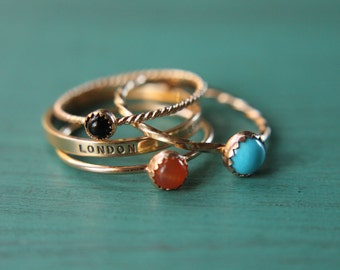 3 solid 14k gold gemstone stacking rings and custom band set of 4 rings