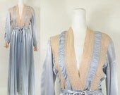 1940s blue satin robe dressing gown with beige lace trim / vintage 40s lingerie / boudoir robe