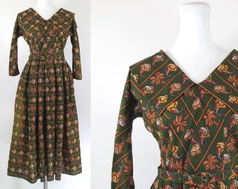 50s olive green linen cotton day dress / vintage paisley tribal print / 50s full skirt dress / chelsea collar / mad men style