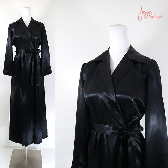 50s Long Black Satin Robe Vintage Dressing Gown 50s