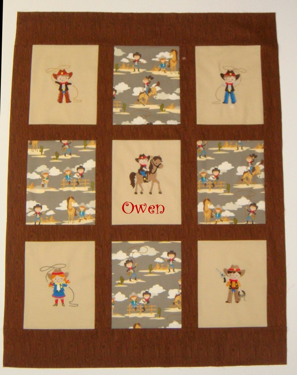 Custom embroidered western themed baby quilt blanket you for Baby themed fabric