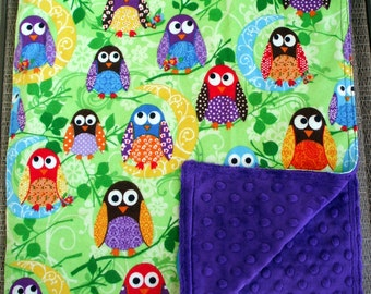 "Baby Blanket - Colorful Owls on Green Flannel with Royal Purple Minky, 29"" X 35"""