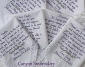 Embroidered Wedding Handkerchiefs Set of 5 Hankies Parents of the Bride & Groom By Canyon Embroidery on ETSY