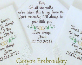 Wedding Handkerchief Embroidered Wedding Hankerchief, Wedding Rings Ring, SET of 3, Wedding Handkerchiefs Embroidered By Canyon Embroidery