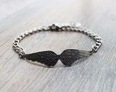 Angel Wing Bracelet.  silver ox Vicrorian angel wing with initial tag.monogram.personalized gift