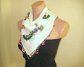 White Scarf - White Red and Green Crocheted Ends - Red Flowers and Green Leaves Print on Cotton Fabric - Eco Friendly Natural- Purple Yellow