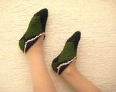 Home slippers for women, girl - Warm Turkish comfortable hand knit house socks - Ready to ship - Green black squares, salmon crocheted ends