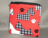 Coin Purse - Gift Card Holder - Card Case -Small Padded Zippered Pouch - Mini Wallet - Scottie Dog - Scottish Terrier