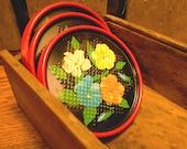 Set of 8 Vintage Floral Design Pattern Coasters - Black Background