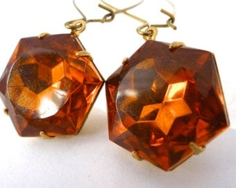 Vintage Hexagon Earrings, Large Honey Topaz Glass Jewels, Dangle Style, Geometric Minimalist