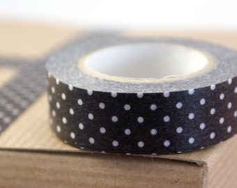 Classiky Japanese Washi tape - White Polka Dots on Chocolate Brown