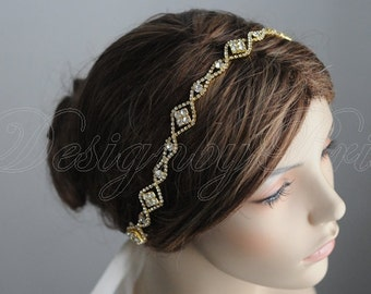 Bridal Hairpiece Wedding Accessories Wedding Headband Bridal Ribbon Headband - Rhinestone Gold Ribbon Headband