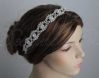 SALE HPH 11 Bridal Hairpiece Wedding Accessories. Wedding Headband Bridal Ribbon Rhinestone Headband - Rhinestone Silver Ribbon Headband