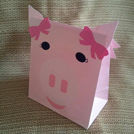 Pink Girl Pig Treat Sacks - Farm Ballerina Barnyard Theme Birthday Party Favor Bags by jettabees on Etsy