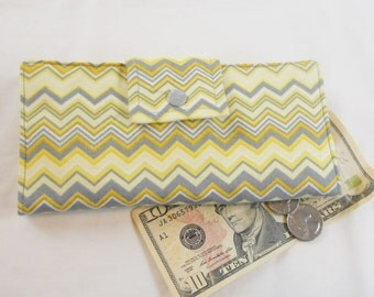 Ladies Wallet, Handmade Wallet, Bifold Clutch Wallet, Chevron Yellow, Grey, White, Made in USA