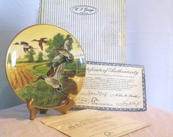 "Ducks Unlimited Collection - ""Pintails In Indian Summer"" - Collectible Plate - Classic Waterfowl - W.S. George"