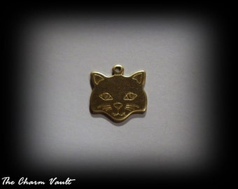 3 Cat Face Raw Brass Charms Stamping Embellishment Jewelry Findings (A-85)