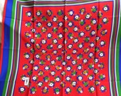 Vibrant Country Bouquet Vintage YSL Silk Scarf NOS Red Royal Blue