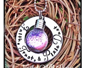 Christmas - Personalized Hand Stamped Faith, Trust and Pixie dust Tinkerbell