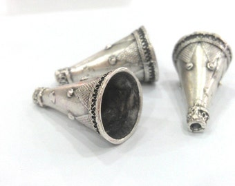 2 Silver Cone Antique Silver Plated Brass  Cones , Findings (30x16 mm) G1032