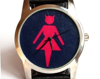 Watch, women watch, black and red