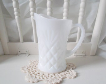 Vintage Milk Glass Pitcher Westmoreland Milkglass Home & Living Home Decor Wedding Collectibles Vases Shabby Cottage Chic Farmhouse
