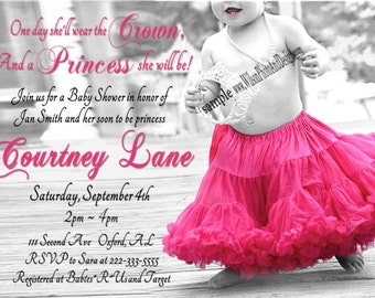PRINCESS, Crown and TuTu  Baby Shower Invitation for GIRL