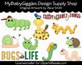 Creepy Crawly bestioles Clip Art Digital Graphics Scrapbook carte alimentation Téléchargement instantané
