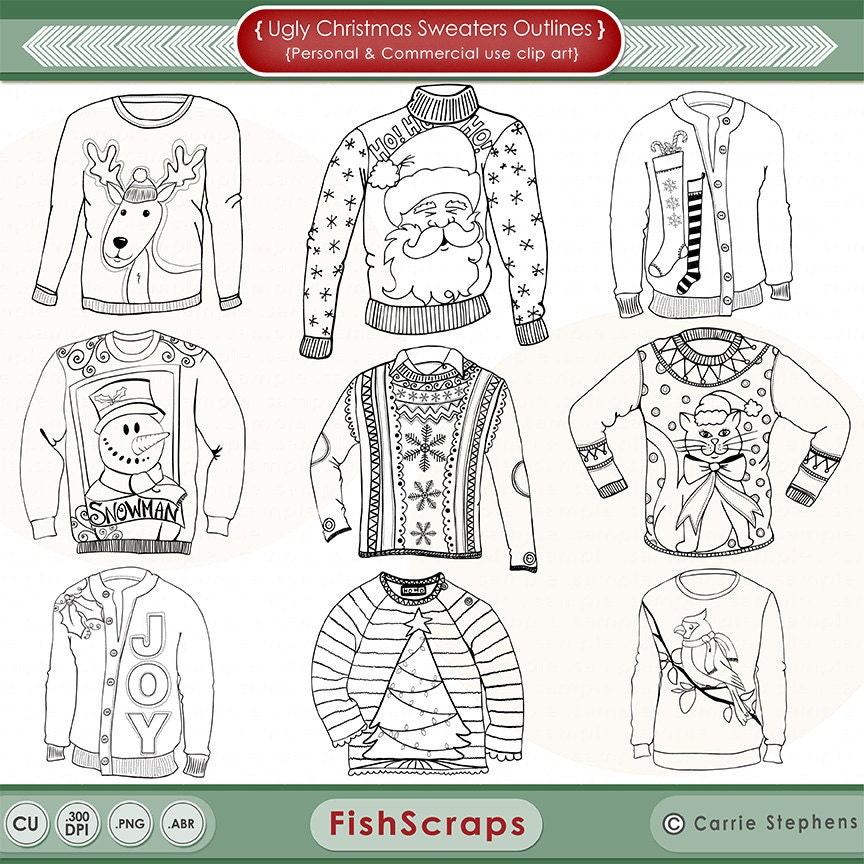 Christmas Ugly Sweater Line Art, Coloring Images, Christmas ...