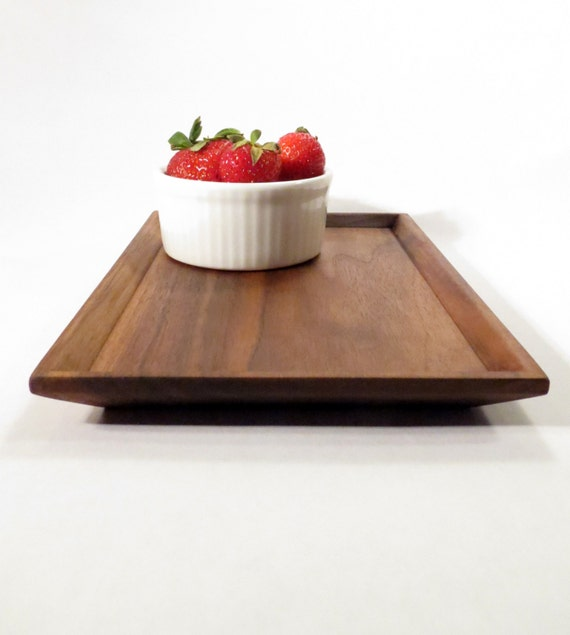 Wood serving tray - bevel edged wood platter