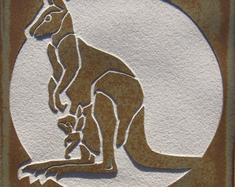 4x4 Kangaroo Mother  with Joey - Etched Porcelain Tile - Coaster - SRA
