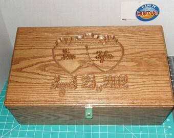 Custom Carved Wood Keepsake  Chest