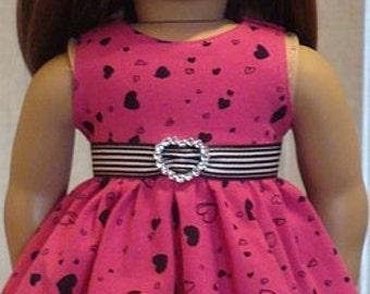 Heart Print Twirl Dress & Leggings For American Girl Or Similar 18-Inch Dolls