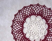 Burgundy Spice Crochet Lace Doily, Victorian Colors, Dark Red, White