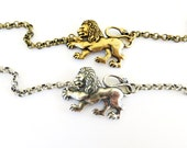 Steampunk Lion Bracelet- Sterling Silver Ox Finish or Antiqued Brass Ox Finish