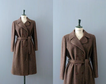 Vintage tweed coat. 1970s trench wool coat. brown tweed coat