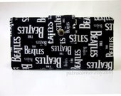 Handmade women wallet - The Beatles words - Custom order - Clutch purse - Classic black and white - Music - gift for her - OOAK wallet