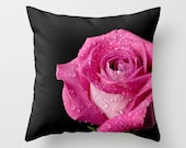 Hot Pink Rose Pillow Cover, Black Throw Cushion Case, English Country Charm Home Decor, Romantic Bedroom Accent, Valentine's Day Gift Idea