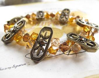 Swarovski Crystal and Antique Brass bracelet-Victoria's Memories