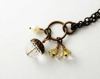 Acorn Necklace /  Rock Crystal Natural  Stone  /  Vintaj Brass /   Charms /  Nature Lover